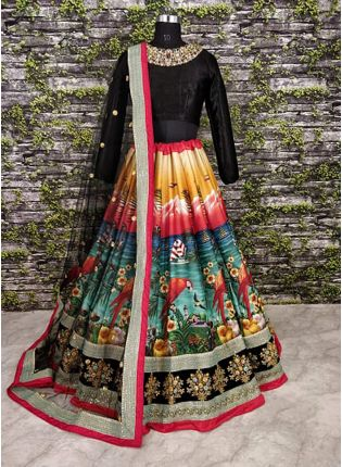 Nature Motif Digitally Printed Cord Work Lehenga Choli