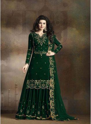 Hunter Green Zari Casual Pakistani Palazzo Salwar Suit