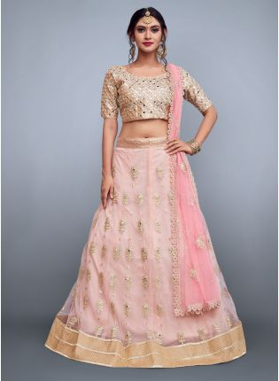 Baby Pink Mirror Work Net Base Lehenga Choli Set