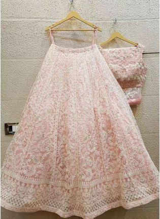 Blush Pink Color Georgette Base Lakhnavi Work Lehenga Choli