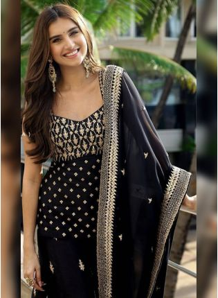 Black Sequin Pakistani Festive Palazzo Salwar Suit