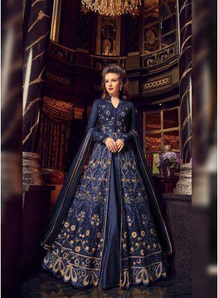 Charming Blue Colored Soft Net Base Slit Cut Designer Anarkali Suit
