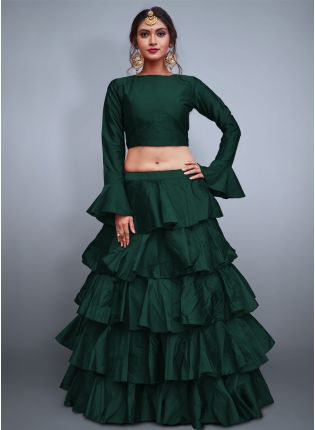 Dark Green Taffeta Silk Base Ruffle Lehenga Skirt With Crop Top