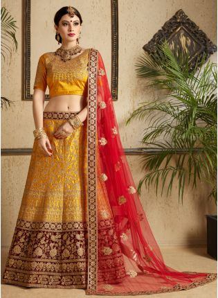 Mustard Yellow Satin Base Bridal Wear Embroidered Lehenga Choli