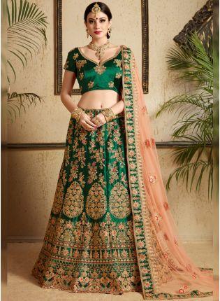 Bridal Wear Dark Green Color Satin Base Lehenga Choli