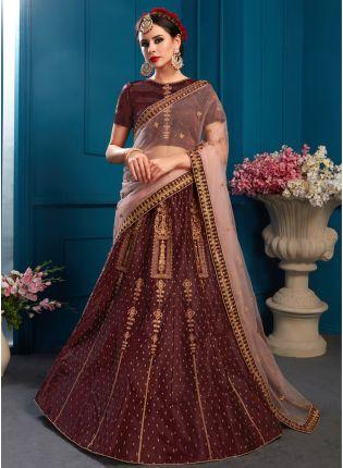 Wonderful Brown Color Satin Base Embroidered Lehenga Choli