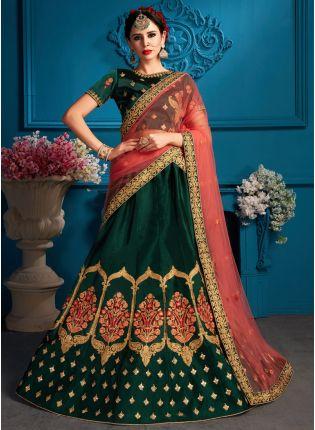 Dark Green Color Satin Base Designer Embroidred Lehenga Choli