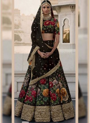 Black Printed Pearl Work Heavily Drape Lehenga Choli Set