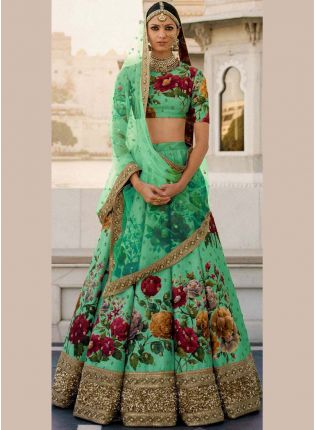 Green Printed Pearl Work Heavily Drape Lehenga Choli Set