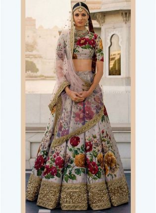 Grey Printed Pearl Work Heavily Drape Lehenga Choli Set