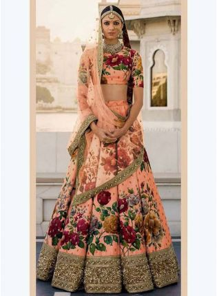 Peach Printed Pearl Work Heavily Drape Lehenga Choli Set