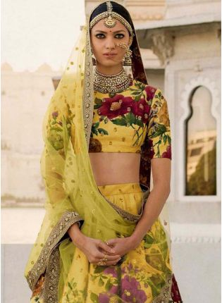 Haldi Yellow Printed Pearl Work Heavily Drape Lehenga Choli Set