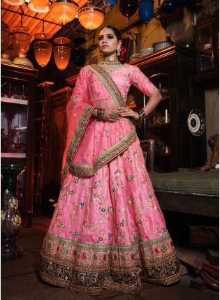 Pink Color Designer Heavy Embroidary Work Lehenga Choli