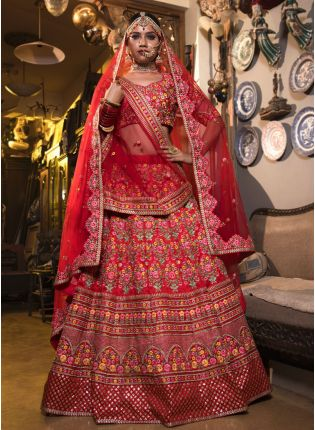 Designer Bridal Heavy Embroidered Red Color Lehenga Choli