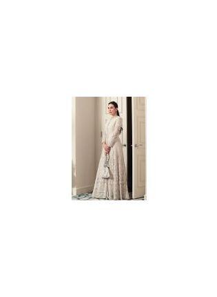 Elegant White Resham Georgette Designer Gown for Weddings