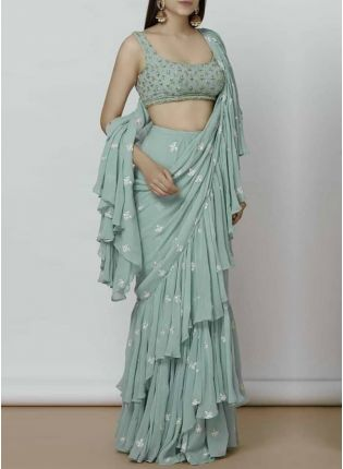 Blue Digital Print Georgette Ruffle Party Wear Saree