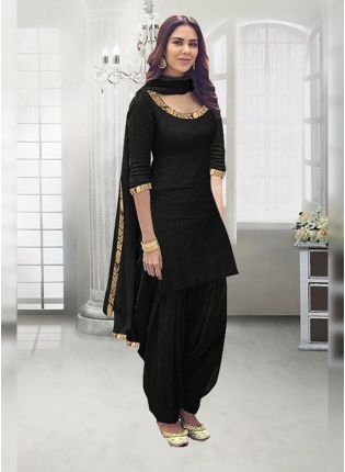 Black Zari Work And Rayon Straight Fit Salwar Suit
