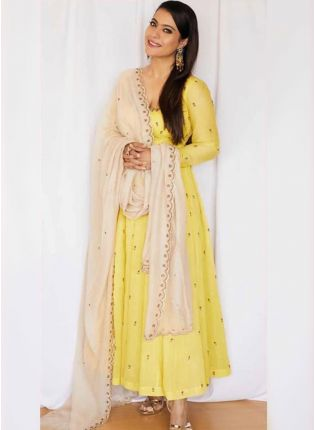 Yellow Zari Georgette Ceremonial Anarkali Churidar Salwar Suit
