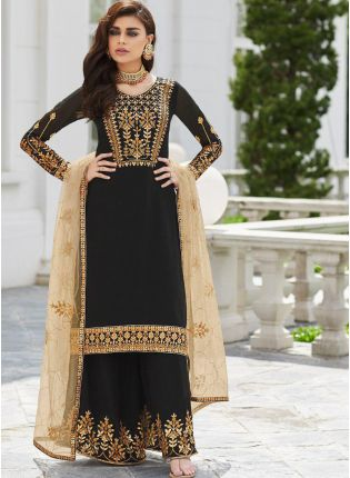 Black Zari Stone And Georgette Party Wear Pakistani Palazzo Suit
