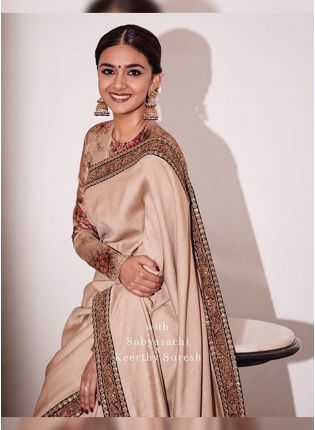 Beige Digital Print Silk Embroidered Bollywood Saree