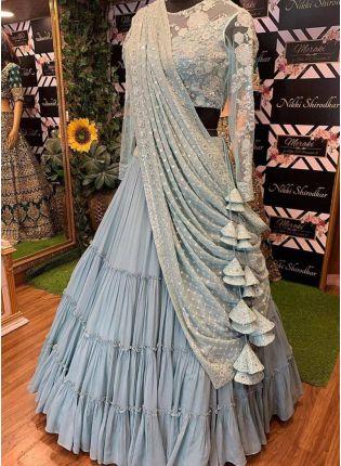 Blue Sequin Resham And Georgette Ruffle Flared Lehenga Choli For Sangeet