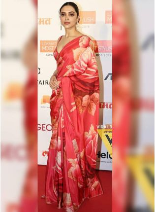 Red Digital Print Art Silk Casual Bollywood Saree