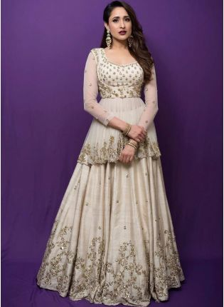 Off-White Sequin Zari And Art Silk Wedding Panelled Long Lehenga Choli