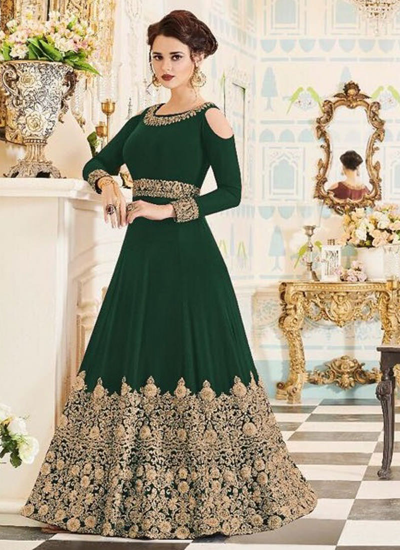 Latest Green Color Designer Heavy Embroidered Gown