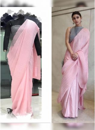 Pink Color Pleating Look Designer Saree With Matching Blouse