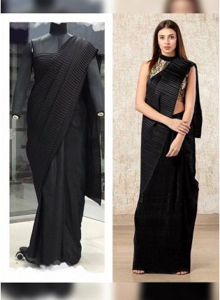 Black Color Pleating Look Designer Saree With Matching Blouse