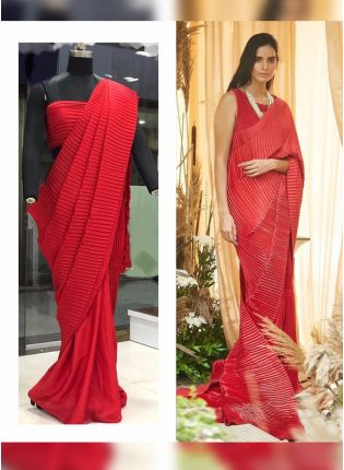 Red Color Pleating Look Designer Saree With Matching Blouse