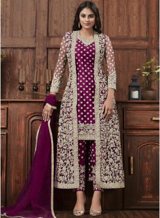 Dark Pink Color Jacket Style Bollywood Salwar Kameez