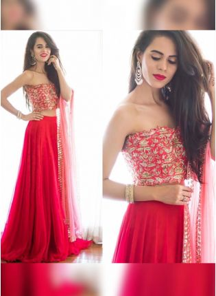Glamorous Red Color Georgette Base Lehenga With Silk Base Blouse