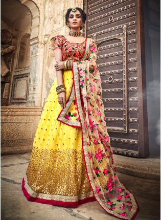 Outstanding Mustard Yellow Soft Net Sequin And Zari Work Lehenga Choli