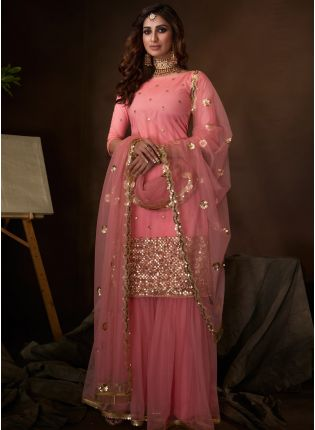 Splendid Light Pink Soft Net Base Festive Wear Sequin Sharara Suit