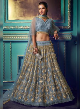 Fantastic Pigeon Grey Soft Net Sequin And Zari Work Lehenga Choli