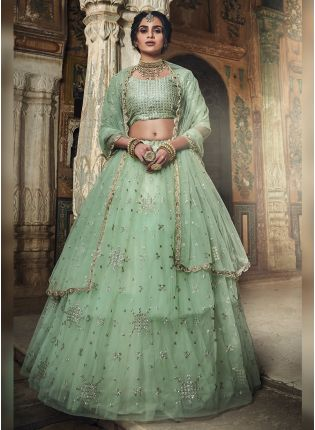 Impressive Sea Green Art Silk Base Designer Sequin Wok Lehenga Choli