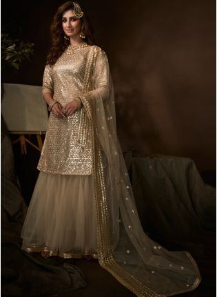 Tempting Beige Soft Net Festive Wear Sequin Work Sharara Suit