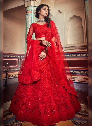 Spectacular Strawberry Red Soft Net Designer Ethnic Lehenga Choli