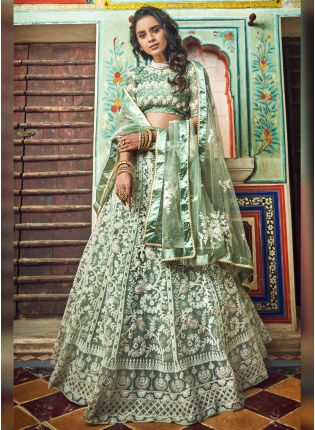 Splendid Teal Green Soft Net Resham And Moti Work Lehenga Choli