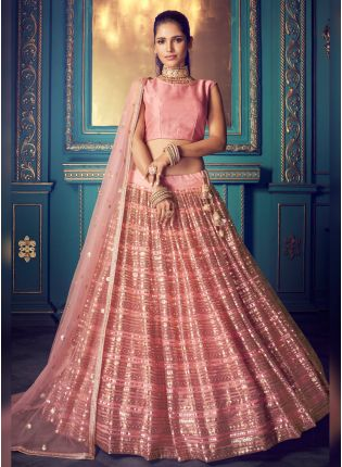 Mesmerizing Barbie Pink Soft Net Sequin Work Ethnic Lehenga Choli