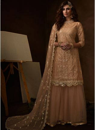 Fashionable And Stylish Cream Soft Net Base Sequin Sharara Suit