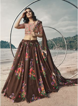 Fabulous Brown Digital Print Resham Organza Lehenga Choli Set