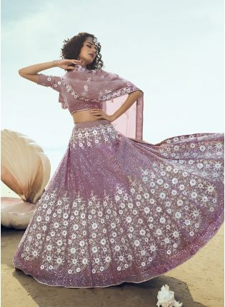 Wonderful Lilac Soft Net Base Sequin And Resham Work Lehenga Choli