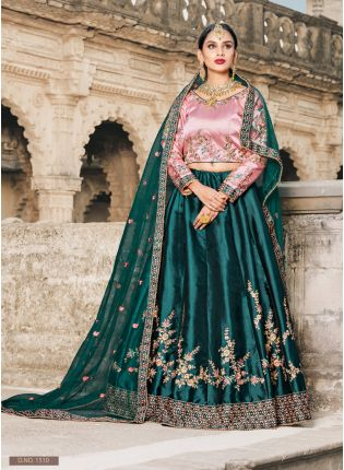 Pine Green Colored Bridal Wear Lehenga Choli