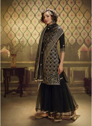 Elegant Black Soft Net And Sequence Sharara Salwar Suit.