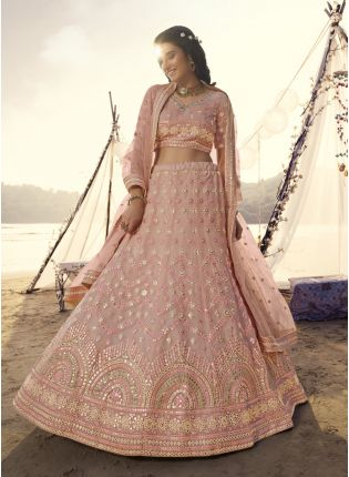 Soulful Peach Foil Mirror Work Organza Lehenga Choli Set