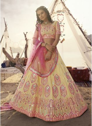 Voguish Off-White Resham Foil Mirror Lehenga Choli Set