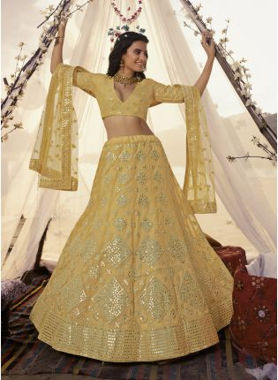 Sunshine Yellow Foil Mirror Resham Lehenga Choli Set