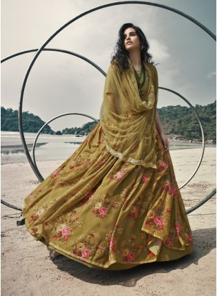 Gorgeous Green Sequined Zari Printed Organza Lehenga Choli Set